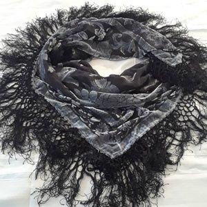 Bebe Flocked Velvet Fringged  Gray Silk Scarf